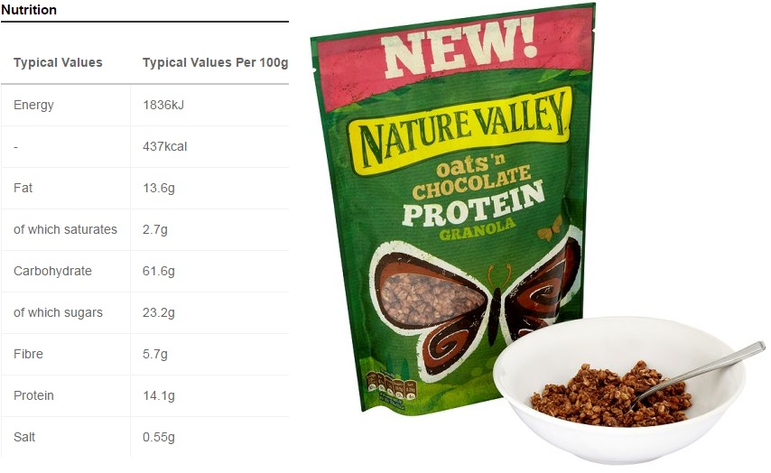 nature valley protein granola nutrition