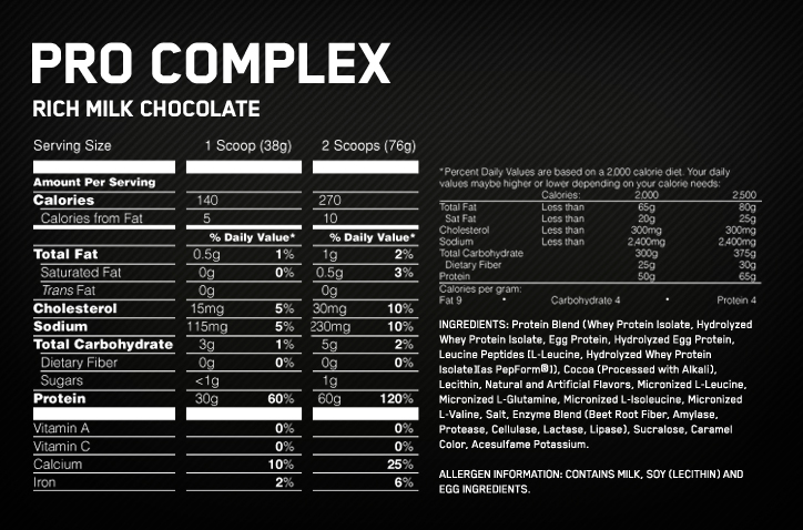 Optimum Nutrition Pro Complex Nutritional Information