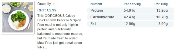 muscle food crispy chicken and rice nutrition