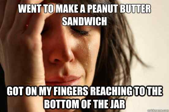 sad woman peanut butter on fingers